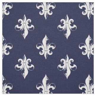 Navy Fleur De Lis Pattern Fabric