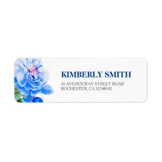 Navy Floral Botanical Bloom Wedding Return Address Label