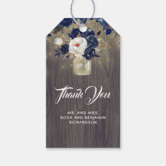 Navy Floral Mason Jar Rustic Wedding Gift Tags