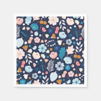 Navy Floral Napkins Paper Napkins