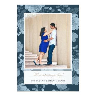 Navy Floral Pregnancy Announcement