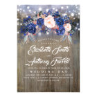 Navy Floral Rustic String Lights Wedding Card