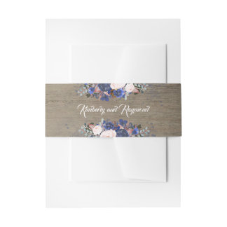 Navy Floral Rustic Wedding Invitation Belly Band