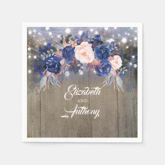 Navy Floral Rustic Wedding Paper Napkin