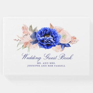 Navy Floral Watercolor Wedding Guest Book