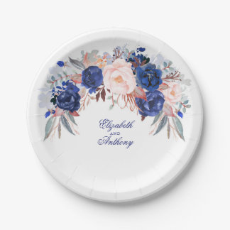 Navy Floral Watercolor Wedding Paper Plate