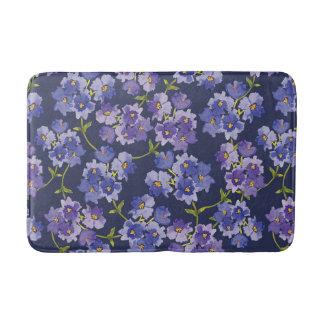 Navy Floral Watercolour Blossoms Painting Bathmat