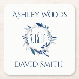 Navy Floral Wreath Save The Date Coaster