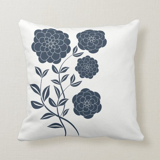 Navy flowers on white, elegant cushion