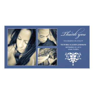 NAVY FORMAL COLLAGE | WEDDING THANK YOU CARD PHOTO CARD TEMPLATE