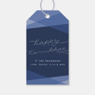 Navy Geo Script Hanukkah Pack Of Gift Tags