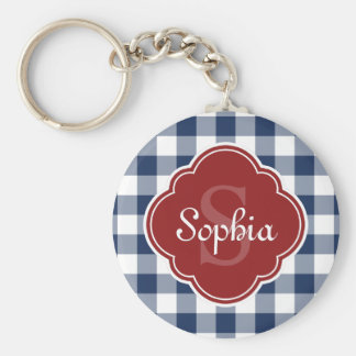 Navy Gingham Red Quatrefoil Monogram Keychain