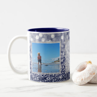 Navy Glitter 2 Pictures w/Text Design Your Own Two-Tone Coffee Mug