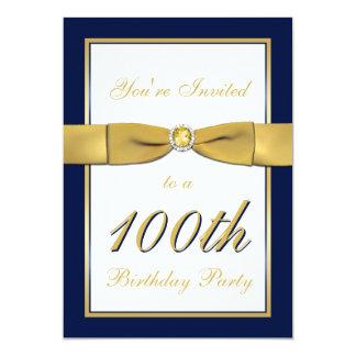 Navy, Gold, and White 100th Birthday Invitation
