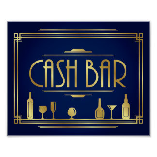 Navy Gold Art Deco CASH BAR Sign Print