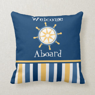Navy Gold Blue Nautical Wheel Stripes Throw Pillow