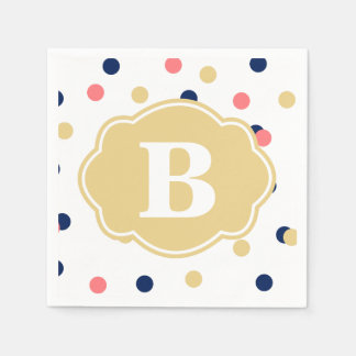 Navy Gold Coral Polka Dot Monogram Napkins Disposable Napkins
