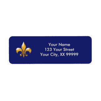 Navy Gold Fleur de Lis Return Address Labels