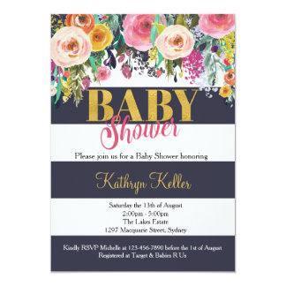Navy & Gold Floral Baby Shower Invitation