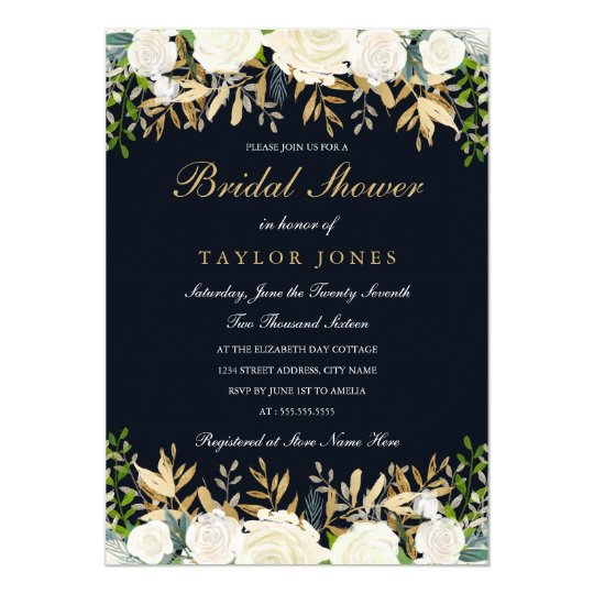 Navy gold Floral Leaf Watercolor Bridal Shower Card