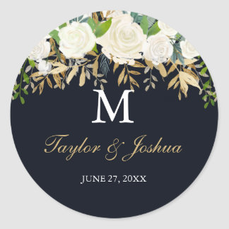 Navy Gold Floral Monogram Wedding Sticker