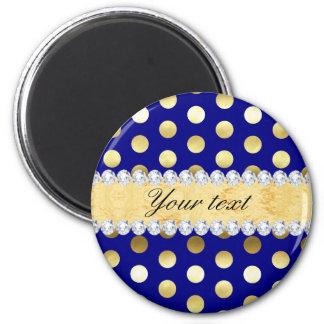 Navy Gold Foil Polka Dots Diamonds 2 Inch Round Magnet
