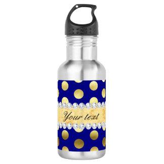 Navy Gold Foil Polka Dots Diamonds 532 Ml Water Bottle