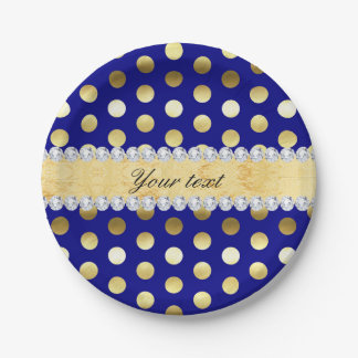 Navy Gold Foil Polka Dots Diamonds 7 Inch Paper Plate