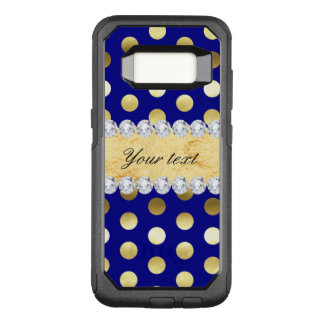 Navy Gold Foil Polka Dots Diamonds OtterBox Commuter Samsung Galaxy S8 Case