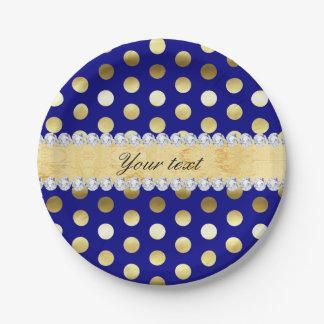 Navy Gold Foil Polka Dots Diamonds Paper Plate