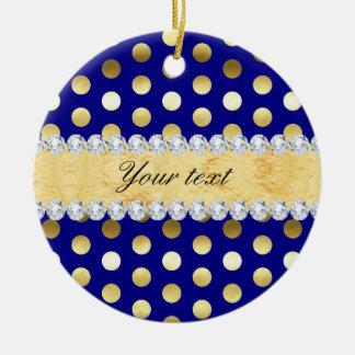Navy Gold Foil Polka Dots Diamonds Round Ceramic Ornament