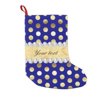 Navy Gold Foil Polka Dots Diamonds Small Christmas Stocking