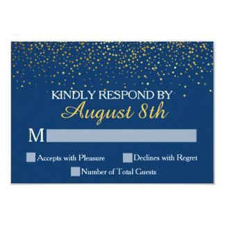 Navy Gold Glitter Confetti Dots Wedding RSVP Card