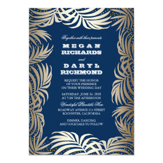 "Navy - Gold Glitter Palm Leaf Beach Wedding 5"" X 7"" Invitation Card"