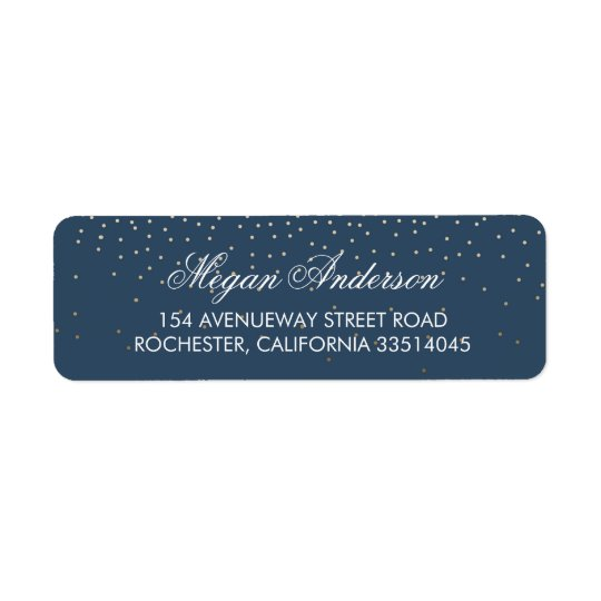 Navy Gold Glitter Wedding Return Address Label