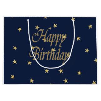 Navy Gold  Happy Birthday Large Gift Bag