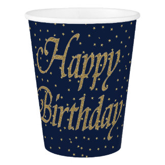 Navy Gold  Happy Birthday Paper Cup