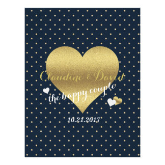 Navy & Gold Heart Polka Dot Wedding Program Flyer