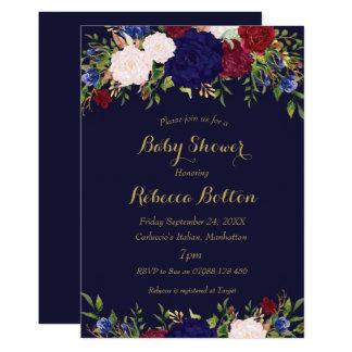 navy gold marsala floral baby shower invitation