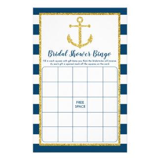 Navy & Gold Nautical Anchor Bridal Shower Bingo Flyer