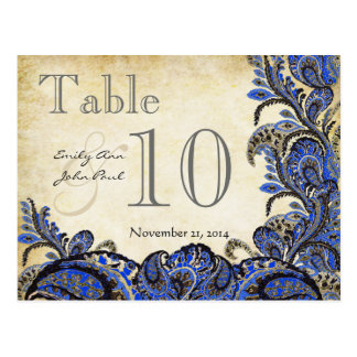 Navy Gold Paisley Wedding Table Number Postcard