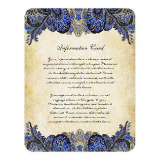 Navy & Gold Paisly Peacock Wedding Invitation