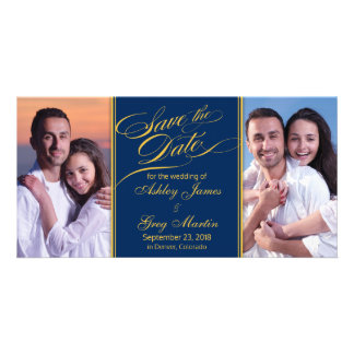 Navy Gold Photo Collage Wedding Save the Date Personalized Photo Card