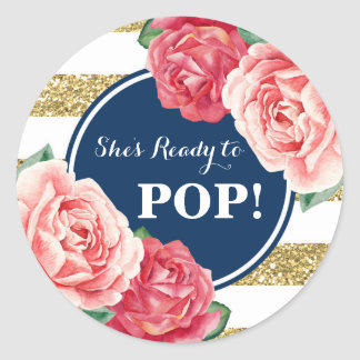 Navy Gold Pink Floral Baby Shower Ready to Pop Classic Round Sticker