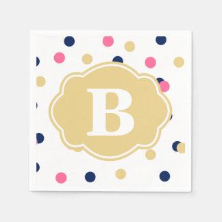Navy Gold Pink Polka Dot Monogram Napkins Paper Napkins