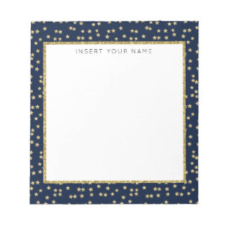 """Navy & Gold Stars Personalized Notepad 5.5"""" x 6"""""""