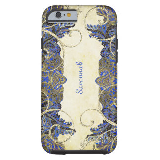 Navy Gold Vintage Peacock Paisley iPhone 4 Case