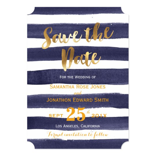 Navy Gold Watercolor Stripes Wedding Save the Date Card