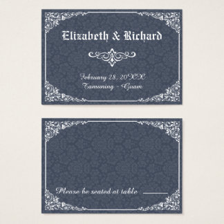Navy Gothic Victorian Damask Wedding Place Card