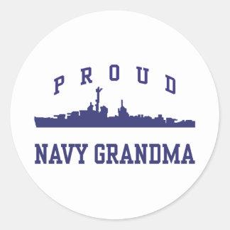 Navy Grandma Round Sticker